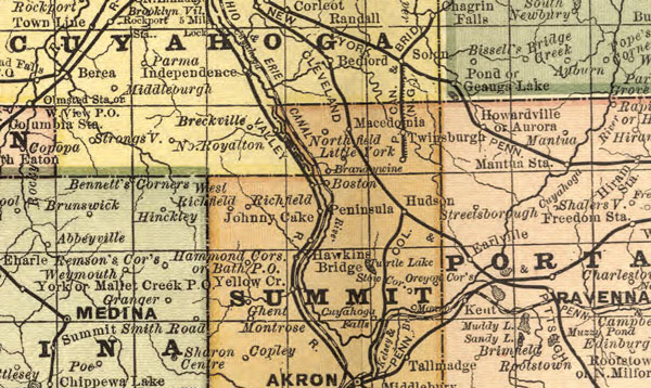 Ohio State 1881 Rand McNally Historic Map detail