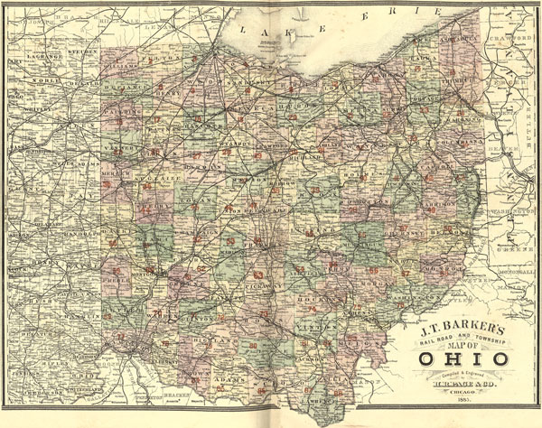 Ohio State J. T. Barker - H. R. Page 1885 Historic Map Reprint