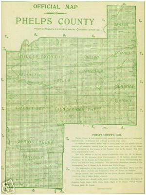 Early map of Phelps County, Missouri including Rolla, St. James, Jerome, Arlington, Blooming Rose, Clementine, Craddock