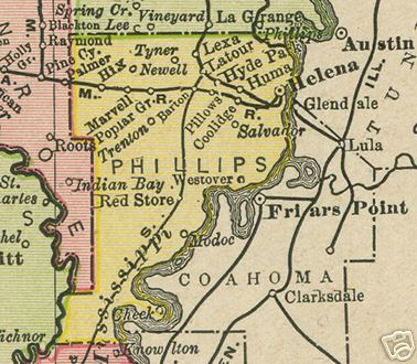 Early map of Phillips County, Arkansas including Helena, Marvell, Lexa, Huma, Modoc, Red Store, Salvador, Hix