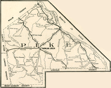 Early map of Pike County, Missouri including Bowling Green, Louisiana, Clarksville, Frankford, Curryville, Ashburn, Ashley, New Hartford, Eolia, Paynesville, Annada