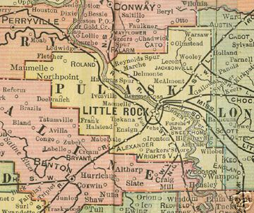 Early map of Pulaski County, Arkansas including Little Rock, Jacksonville, Maumelle, Mablevale, Alexander, Wrightsville, Sweet Home