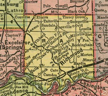 Early map of Ray County, Missouri including Richmond, Lawson, Camden, Orrick, Hardin, Knoxville, Henry