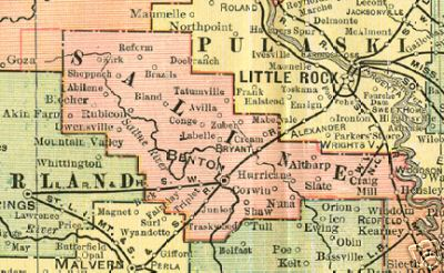 Early map of Saline County, Arkansas including Benton, Bryant, Corwin, Hurricane, Nuna, Rubicon, Abilene, Reform