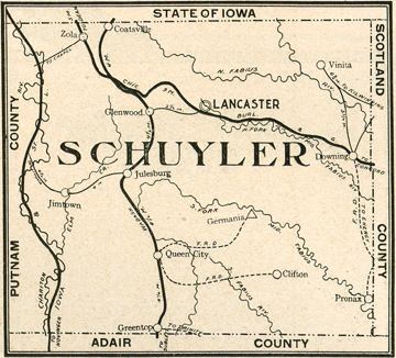Early map of Schuyler County, Missouri with Lancaster, Glenwood, Queen City, Downing, Greentop (Green Top), Coatsville, Clifton, Germania, Julesburg, Vinita