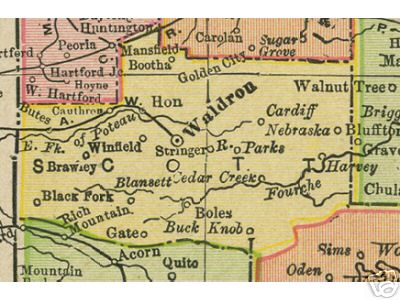 Early map of Scott County, Arkansas including Waldron, Boles, Hon, Winfield, Cardiff, Brawley, Buck Knob, Parks