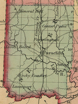 Early map of Sevier County,  Arkansas History Genealogy including: Paraclifta, Center Point, Farmington, Lanesport, Lions Beard, Mineral Hill, Rocky Comfort, Saline, Ultima Thule
