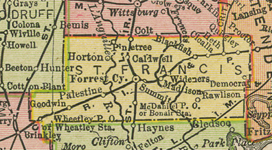 Early map of St. Francis County, Arkansas including Forrest City, Madison, Widener, Palestine, Wheatley, Colt