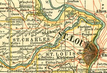 Early map of St. Charles County, Missouri O'Fallon, Wentzville, Cottleville, Foristell, Portage Des Sioux