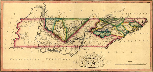 Tennessee 1817 Samuel Lewis Historic Map Reprint