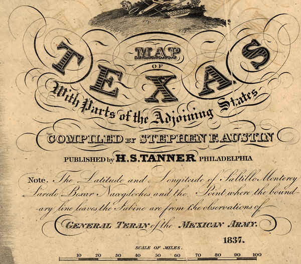 Texas State Republic Of Texas 1837 Stephen F Austin