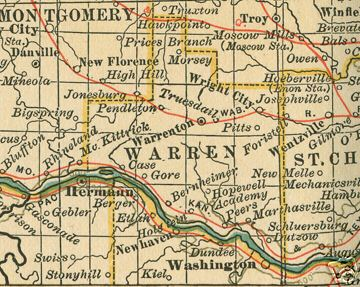 Early map of Warren County, Missouri including Warrenton, Wright City, Truesdail, Treloar, Marthasville, Dutzow