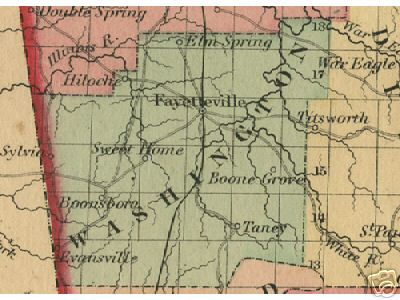 Early map of Washington County, Arkansas including Fayetteville, Elm Spring, Boone Grove, Taney, Sweet Home, Boonsboro, Evansville