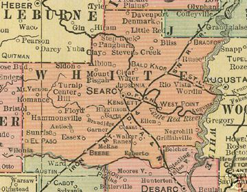 Early map of White County, Arkansas including Searcy, Kensett, Judsonia, West Point, Higginson, Bald Knob, Griffithville