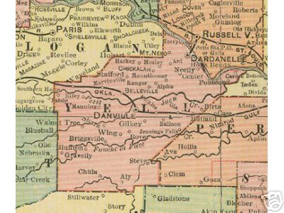 Early map of Yell County, Arkansas including Danville, Dardanelle, Belleville, Ola, Walnut Tree, Gilkey, Briggsville