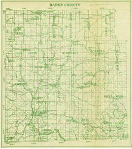 Early map of Barry County, Missouri including Cassville, Monett, Purdy, Exeter, Butterfield, Washburn, Seligman, and more