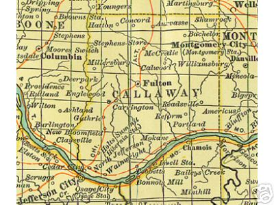 Early map of Callaway County, Missouri including Fulton, Auxvasse, Holts Summit, Mokane, Millersburg, Tebbetts