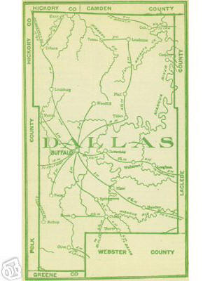 Early map of Dallas County, Missouri including Buffalo, Louisburg, Urbana, Tunas, Plad, Celt, Charity