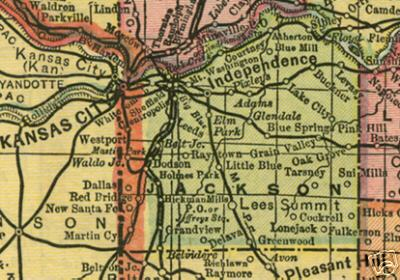 Early map of Jackson County, Missouri including Kansas City, Independence, Lees Summit, Westport, Blue Springs, Oak Grove, Lone Jack and more