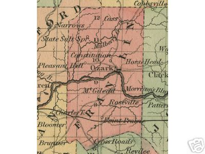 Early map of Franklin County, Arkansas including Ozark, Roseville, Pleasant Hill, Constitution, Cass, Mt. Gilead