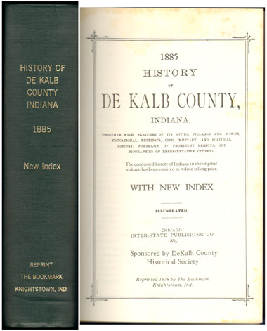 History of DeKalb County, Indiana 1885 Genealogy Biography