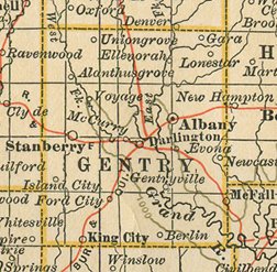 Early map of Gentry County, Missouri with Albany, Stanberry, King City, Ford City, Darlington, McFall, Gentry, Alanthus Grove, Ellenorah, Enyart, Lone Star, Island City, Gentryville