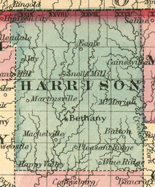 Early map of Harrison County, Missouri with Bethany, Cainesville, Eagleville, Pleasant Ridge, Mt. Moriah