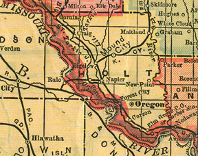 Early map of Holt County, Missouri with Oregon, Mound City, Craig, Corning, Maitland, Forest City, Fortescue, New Point, Bigelow, Napier