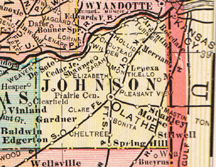 Early map of Johnson County, Kansas with Olathe, Lenexa, Shawnee, Merriam, De Soto, Edgerton, Gardner, Spring Hill, Stilwell