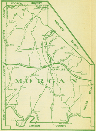 Early map of Morgan County, Missouri including Versailles