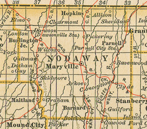 Early map of Nodaway County, Missouri with Maryville, Skidmore, Hopkins, Burlington Junction, Ravenwood, Elmo, Quitman, Parnell, Graham, Clyde, Conception, Barnard, Guilford, Arkoe