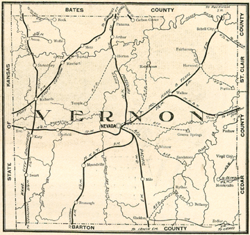 Early map oh Vernon County, Missouri including Nevada