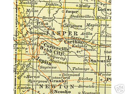 Early map of Jasper County, Missouri including Joplin, Carthage, Sarcoxie, Webb City, Carterville, Oronogo, Carl Junction