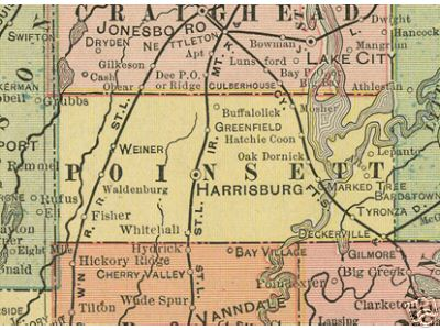 Early map of Poinsett County, Arkansas including Harrisburg, Marked Tree, Weiner, Waldenburg, Greenfield, Fisher