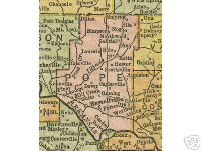 Early map of Pope County, Arkansas including Russellville, Dover, Hector, London, Atkins, Pottsville, Scottsville