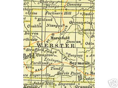early Webster County, Missouri map including Marshfield, Seymour, Niangua, and more